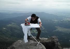 extreme ironing cliff